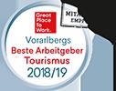 """Mit dem Zertifikat """"Vorarlbergs Beste Arbeitgeber Tourismus"""" werden Tourismusbetriebe - in Kooperation mit Great Place to Work® -  anhand von messbaren Kriterien als gute Arbeitgeber bewertet und zertifiziert."""